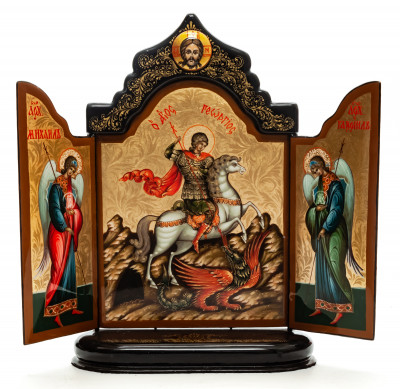 190x260mm Saint George handpainted on nacre Icon (by Galina Studio)