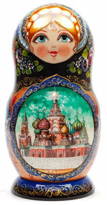230 mm Moscow Kremlin and Snt Basil Cathedral hand painted Matryoshka 5 pcs with Zhostovo ornaments (by Olga Zaitseva)
