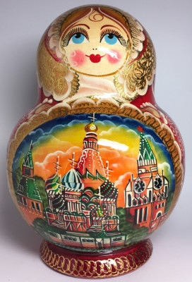 250 mm Moscow Cathedrals Hand painted Matryoshka doll 20 pcs inside round shape (by Valery Studio)