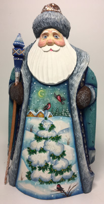 215 mm Santa with Magic Staff and Christmas Green Tree handpainted Wooden Carved Statue (by Sergey Christmas Workshop)