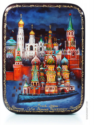 140x180 mm Moscow Kremlin at night hand painted papier-mache lacqured jewelery box (by Panferoff Studio)