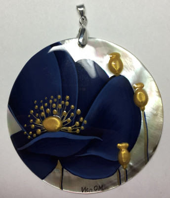 d60 mm Dark Blue Poppies hand painted Nacre Pendant (by Tatiana Shkatulka Crafts)