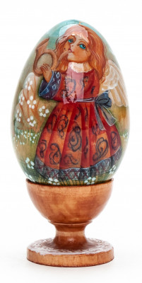 100mm Angel with a Horn handpainted wooden Egg with standby (by Andrey Christams Ornaments Studio)