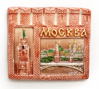70x60 mm Spasskaya Tower Moscow Kremlin and River Ceramic Fridge Magnet (by Skazka)