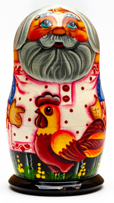 120mm Ryaba the Hen hand painted Matryoshka 3pcs (by Gift Shop)