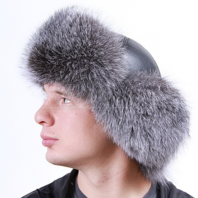 Blue Frost Fox Ushanka Hat with Ear Flaps and Leather Top (by Scandifur)