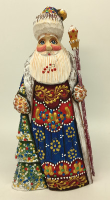 180 mm Santa Claus hand carved and painted wooden statue (by Natalia Workshop)