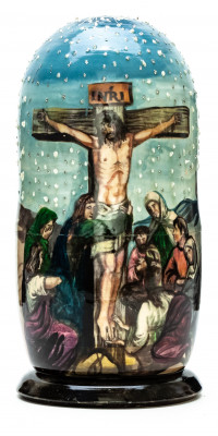 180mm Crucifixion of Jesus hand painted on wooden Matryoshka doll 5 pcs (by Alexander Famous Paintings Studio)