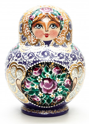 170 mm Russian Patterns hand painted Matryoshka Doll 15 pcs (by Elena Kudryashova)