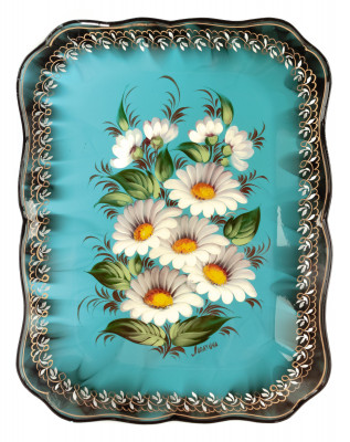 250x320 mm Daisies hand painted by Lopatina and lacquered Metal Forged Tray (by Lada Crafts)