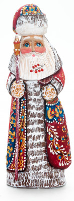 180 mm Santa Claus with a Magic Staff and a Bag handpainted Wooden Carved Statue (by Natalia Nikitina Workshop)