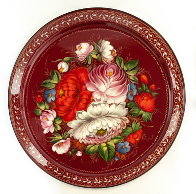 d 385 mm Zhostovo Patterns hand painted and lacquered by Golovina Metal Forged Tray (by Lada Crafts)