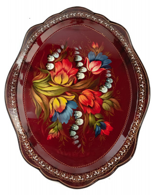360x480 mm Zhostovo Patterns hand painted and lacquered by Danilova Metal Forged Tray (by Lada Crafts)