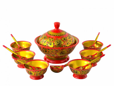 Khokhloma hand painted Wooden Set for dessert honey (supplies and sockets) of 14 items