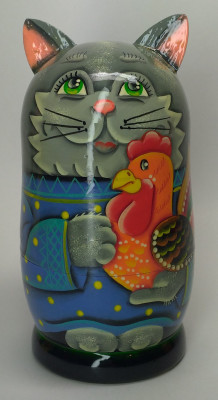 120mm Cat with a Cockerel hand painted Matryoshka 3pcs (by Gift Shop)