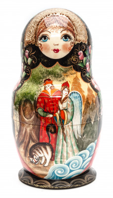 230 mm The Swan Princess hand painted on Wooden Matryoshka doll 10 pcs (by Valeria Crafts)