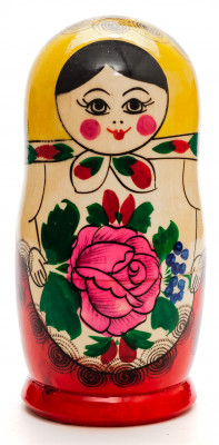 130 mm Yellow Head Semenovskaya handpainted wooden Matryoshka Doll 6 pcs (by Ivan Studio)