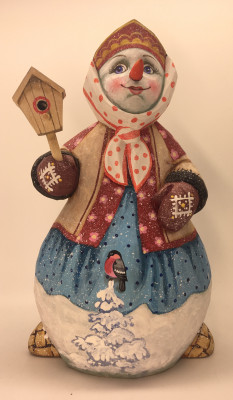 25cm Snow Woman in a Caftan with Gloves and Birdhouse hand painted by Karpova Nadezda