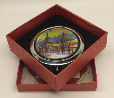 Compact Mirror with Old Church in Winter