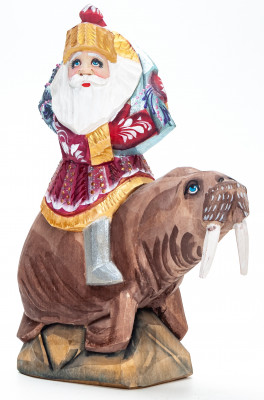180 mm Santa with a Bag Riding the Walrus handpainted Wooden Carved Statue (by Igor Carved Wooden Figures Studio)