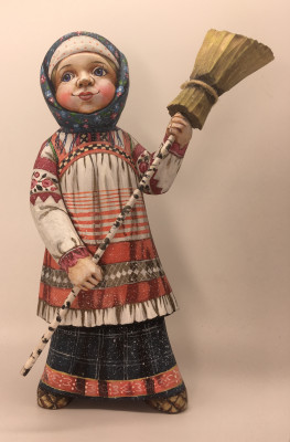 22cm Russian Girl in a Winter Dress with a Broom hand painted by Karpova Nadezda