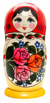 205 mm Red Head Semenovskaya handpainted wooden Matryoshka Doll 8 pcs (by Ivan Studio)