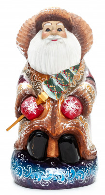 280 mm Santa Claus sitting on Gift Bag Carved Wood Hand Painted Collectible Figurine  (by Igor Carved Wooden Figures Studio)