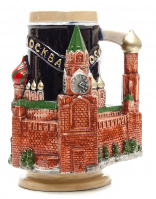 500 ml Snt Basil and Moscow Attractions Ceramic Beer Mug Height 180 mm (by Volga Pottery)