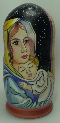 180mm Madonna with Christ hand painted on wooden Matryoshka doll 5 pcs (by Alexander Famous Paintings Studio)