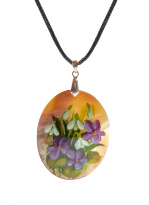 40x50 mm Flowers hand painted Nacre Pendant (by Tatiana Shkatulka Crafts)
