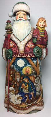 350 mm Santa Claus with handpainted Christmas Story and Boy sitting on his Shoulder Carved Wooden Statue (by Sergey Christmas Workshop)
