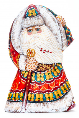 180 mm Santa with a Magic Staff and a Christmas Green Tree Carved Wood Hand Painted Collectible Figurine (by Natalia Nikitina Workshop)