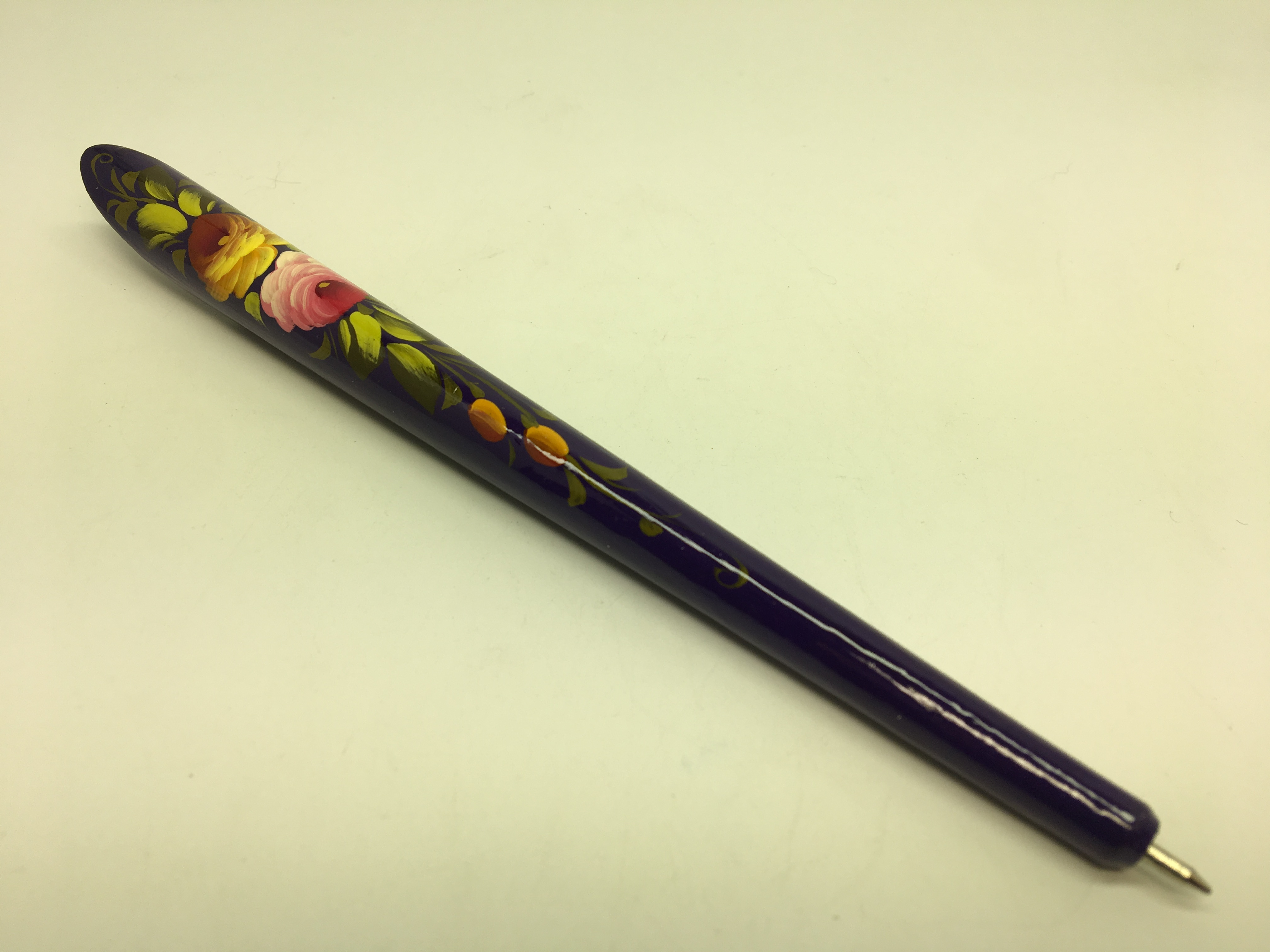 175 mm Zhostovo Navy Blue hand painted wooden Writing Pen (by Lada Workshop)