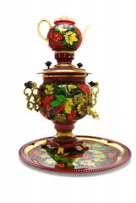 Maple Leaves Hand Painted Electric Samovar Kettle with Teapot and Tray