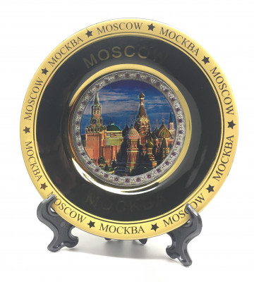 120 mm Spasskaya Tower and Snt Basil's Cathedral Ceramic Souvenir Plate (by Sergey Factory)