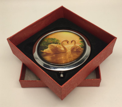 Compact MIrror with Two Swans