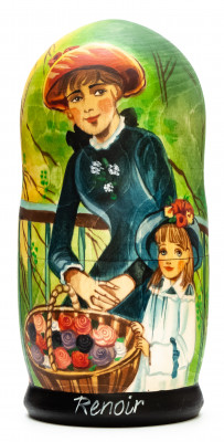 180 mm Two Sisters (On the Terrace) by Renoir hand painted on wooden Matryoshka doll 5 pcs (by Alexander Famous Paintings Studio)