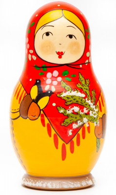 110 mm Mistress with Spruce Branch hand painted Traditional Russian Wooden Matryoshka doll 5 pcs (by Igor Malyutin)