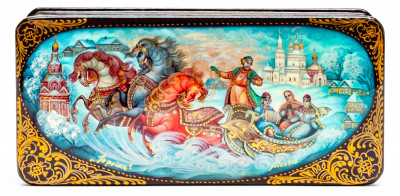 140x70mm Russian Troika hand painted lacquered box from Palekh