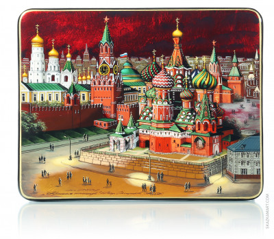 180x140 Moscow Kremlin at night hand painted lacquered jewelery box (by Tatiana Shkatulka Crafts)