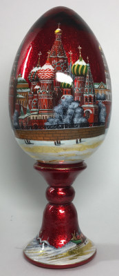 240 mm Snt Basil Cathedral Moscow hand painted on red colored wooden Egg with standby (by Tatiana Crafts)