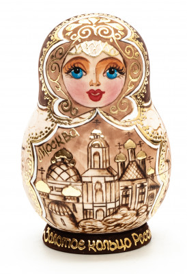 100 mm Russian Cities from Golden Ring hand painted and burnt wooden Matryoshka doll 10 pcs (by Skazka)