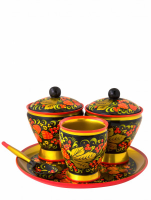 The Strawberry hand painted wooden Set of Two Sugar Bowls and Cup with a spoon on a tray (by Golden Khokhloma)