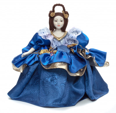 Young Lady in a Blue Dress Kettle Porcelain Doll Warmer - 15 Inches