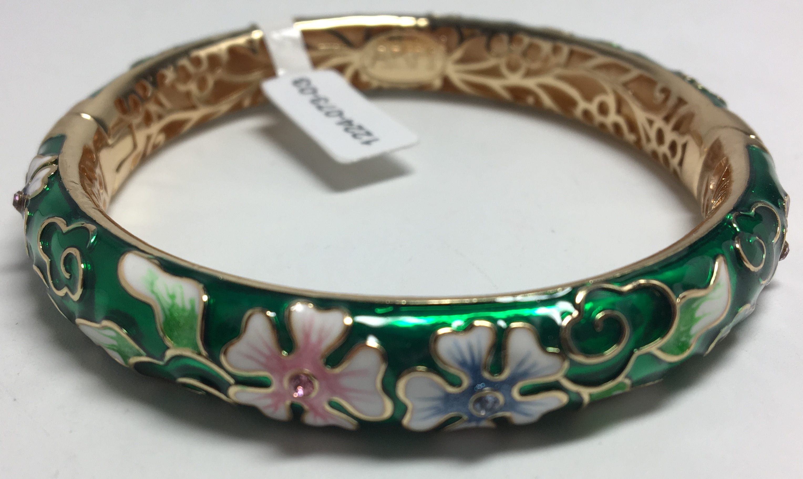 Quintuple Leaf Green Bracelet with Enamel (by AKM Gifts)