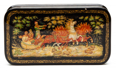 110x60mm Troika  hand painted lacquered box from Palekh (by Pavel Studio)