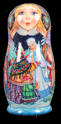 The Snow Maiden Tale Snegurochka hand painted Wooden Matryoshka Doll 5 pcs (by Vasily Crafts)