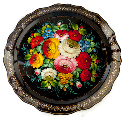 d 450 mm Zhostovo Patterns hand painted and lacquered by Gogina Metal Forged Tray (by Lada Crafts)