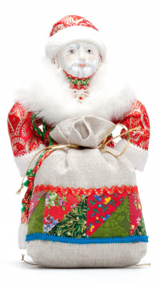 Santa Claus with Christmas Gift Bag Porcelain Hand-Sewn Doll - 10 Inches