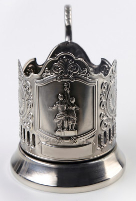 Worker and Kolkhoz Woman Nickel Plated Brass Tea Glass Holder with Faceted Glass (by Kolchugino)